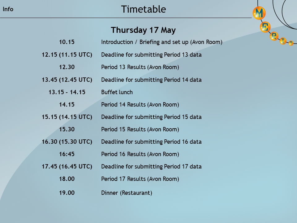 2018 final timetable day 1