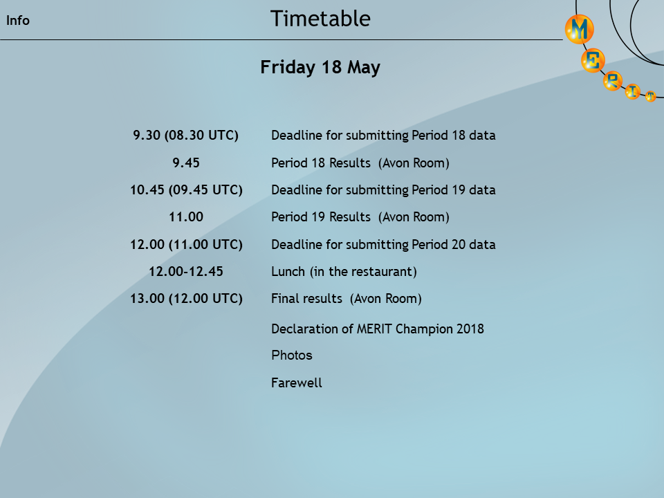 2018 final timetable day 2